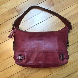 Fossil Red Leather Satchel Shoulder Bag